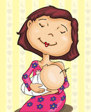 Mom and baby breastfeeding. Cartoon of a mother breastfeeding his baby Stock Image