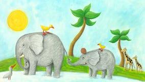 Mom and baby elephant. Acrylic illustration of mom and baby elephant Royalty Free Stock Photo