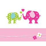 Mom and baby elephants greeting card Royalty Free Stock Photography