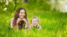 Mom with baby garden Stock Photography