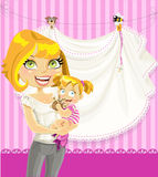 Mom with baby girl pink openwork announcement card Stock Image