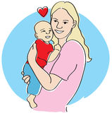 Mom and baby. Happy Mother holding baby boy love heart family mom cuddling cuddle royalty free illustration