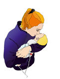 Mom with baby. Illustration representing a mother who pampers her sick child Royalty Free Stock Images