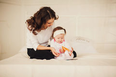 Mom and baby indoor Royalty Free Stock Photos