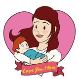 Mom and Baby inside a Heart for Mother's Day, Vector Illustration. Smiling mom holding her baby with a heart behind and a greeting ribbon for Mother's Day Royalty Free Stock Photos