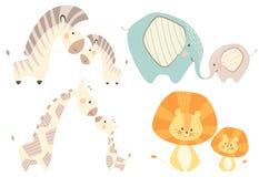 Mom and baby lion giraffe, zebra, elephant baby cute print set. vector illustration