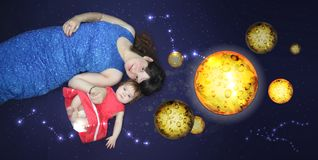 Mom and baby. A loving song before stock illustration