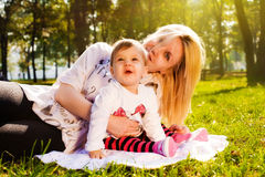 Mom and baby in nature Royalty Free Stock Photos