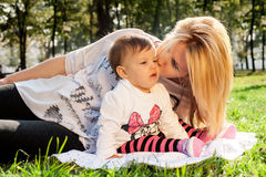 Mom and baby in nature Royalty Free Stock Images