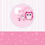 Mom and Baby Owl on a branch. In a lovely day vector illustration