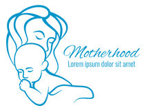 Mom and baby portrait, mothers care and love motherhood outline silhouettes vector concept. Baby with mother love sketch linear illustration royalty free illustration