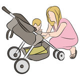 Mom With Baby In Stroller Stock Photos