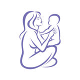 Mom and baby stylized vector symbo Stock Photos