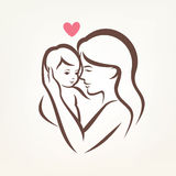 Mom and baby stylized vector symbol. Mother and son stylized vector silhouette, outlined sketch of mom and child Royalty Free Stock Image