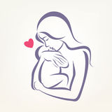 Mom and baby stylized vector symbol Stock Photos