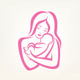 Mom and baby stylized vector symbol. Outlined sketch vector illustration