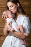 Mom and baby. Are two months old Royalty Free Stock Images