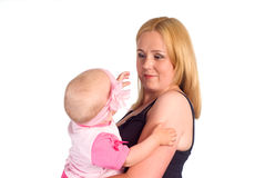 Mom with baby on white Stock Images