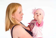 Mom with baby on white Stock Photography
