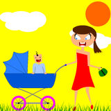 Mom and baby. Young mother on a walk with her baby on a warm summer day Stock Images