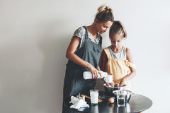 Mom baking with her daughter Royalty Free Stock Images