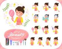 mom_beauty扁平式芭蕾小圆面包头发的围裙 向量例证