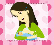 Mom bottle feeding her baby Royalty Free Stock Images