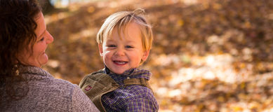Mom and Boy in fall Royalty Free Stock Photos