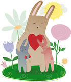 Mom Bunny together with leverets in flowers vector. Family hare, hugging mother and children leverets with flowers and hearts Royalty Free Stock Photo