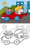Mom in a car. Cartoon image of a mobile mom driving kids around town - color and black/white versions Stock Photo