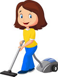 Mom cartoon with vacuum cleaner Stock Images