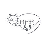 Mom cat line icon Stock Images