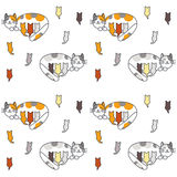 Mom cat and many kittens seamless pattern. Stock Photo