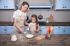 Mom and child daughter in the kitchen are preparing dough, baking cookies. Mom teaches her daughter to knead the dough stock image