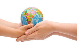 Mom and child handing a globe Stock Images