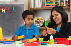 Mom and Child in Home School Setting Royalty Free Stock Photos