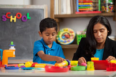 Mom and Child in Home School Setting Stock Photography