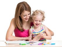 Mom and child painting Royalty Free Stock Image