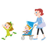 Mom and child. Parent and child who enjoy a walk Stock Image