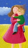 Mom and child in the park. Acrylic illustration of mom and child Royalty Free Stock Image