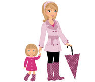 Mom and child rainy day. Mom with daughter on a rainy day Royalty Free Stock Images