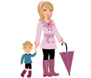 Mom and child rainy day Royalty Free Stock Photos