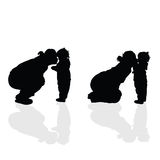 Mom with child vector silhouette Stock Photo