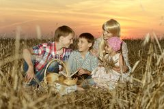 Mom with children on wheat field Stock Photo