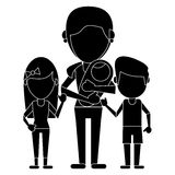Mom with childrens and baby pictogram Royalty Free Stock Images