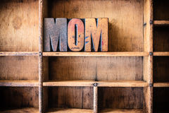 Mom Concept Wooden Letterpress Theme Royalty Free Stock Photography