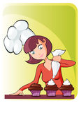 Mom cooking cupcake. Funny cooking illustration of woman iapron cupcake. Stylized illustration Stock Photography