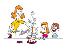Mom cooking for kids Stock Photos
