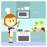 Mom Cooking in the Kitchen. Mom Cooking a Fried Egg in the Kitchen (in Flat Cartoon Style Stock Photography