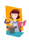 Mom cooking recipe from  cookbook. Beautiful woman try his recipe Royalty Free Stock Images